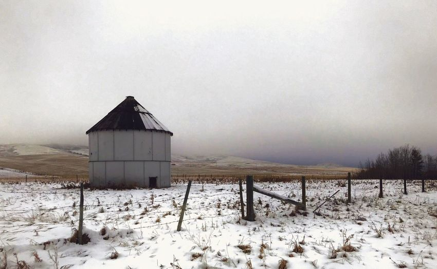 Winter Cold Temperature Snow Weather Nature Built Structure Landscape Outdoors Tranquility Field Beauty In Nature Architecture Scenics No People Day Frozen Tranquil Scene Barn Building Exterior Sky IPhoneography IPhone7Plus Granary White