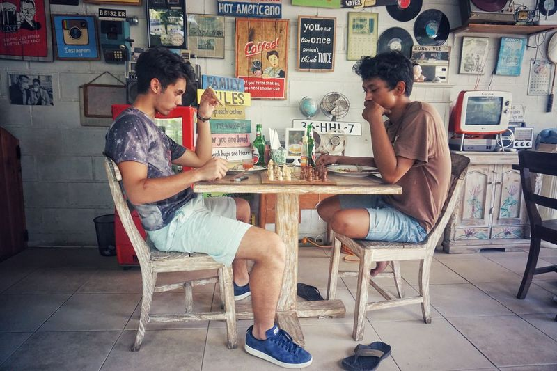 Bali Balangan Chess Boys Playing Playing Games Cafe Travel Finding New Frontiers Enjoy The New Normal Always Be Cozy