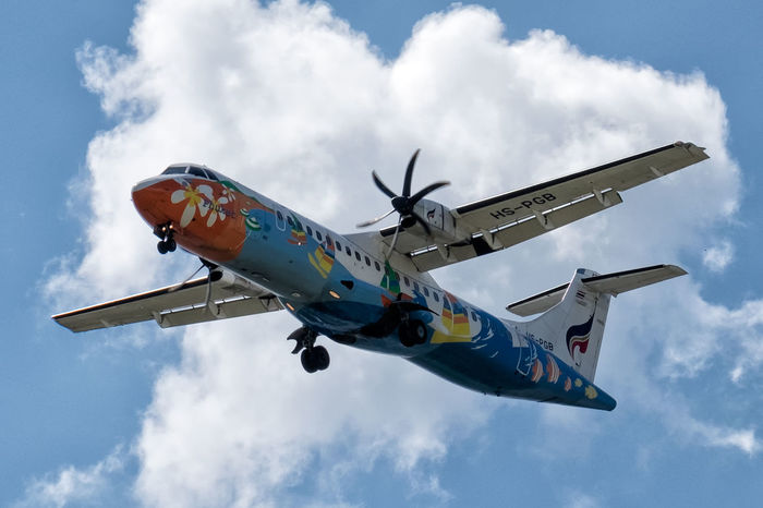 ATR 72-500 on short final runway 18! Airline Atr Blue Civilian Airplane Cloud Cloud - Sky Cloudy Colourful Scheme Happy Colors Landing Low Angle View Mode Of Transport No People Prop Airplane Sky