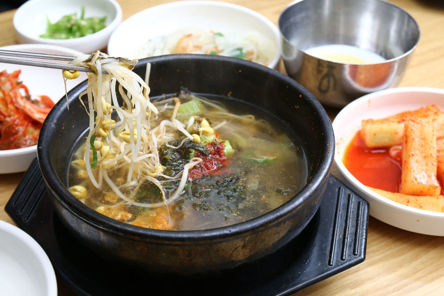 Kongnamul Gukbap or Beansprout soup, a popular Korean meal for hangover relief BeanSprouts Korea Korean Food Gukbap Hangover Kongnamul Kongnamul Soup Soup Stew