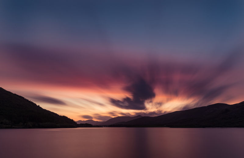 Scotland Beauty In Nature Cloud - Sky Idyllic Lake Long Exposure Mountain Mountain Range Nature No People Orange Color Reflection Romantic Sky Scenics - Nature Silhouette Sky Sunset Tranquil Scene Tranquility Water Waterfront