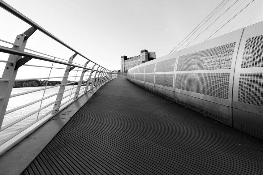 bridge to the arts Architecture Baltic Art Gallery Bridge Engineering Footbridge Millenium Bridge River Tyne, Tranquility Walkway Black And White