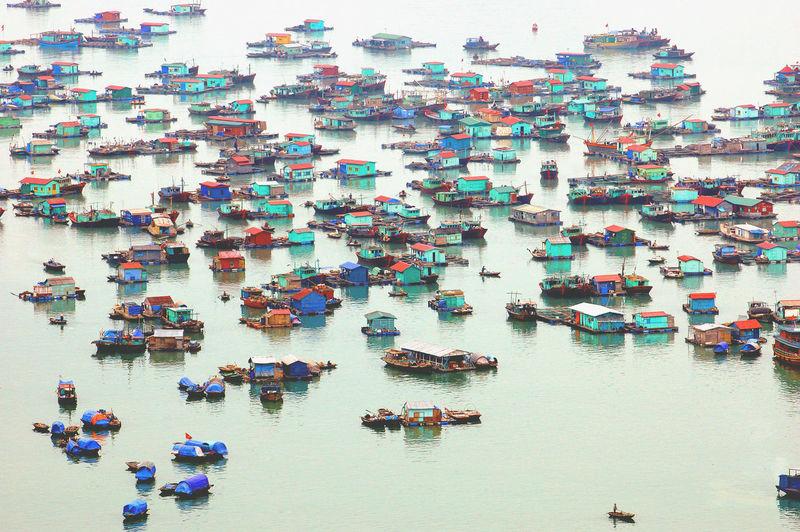 High angle view of boats on sea