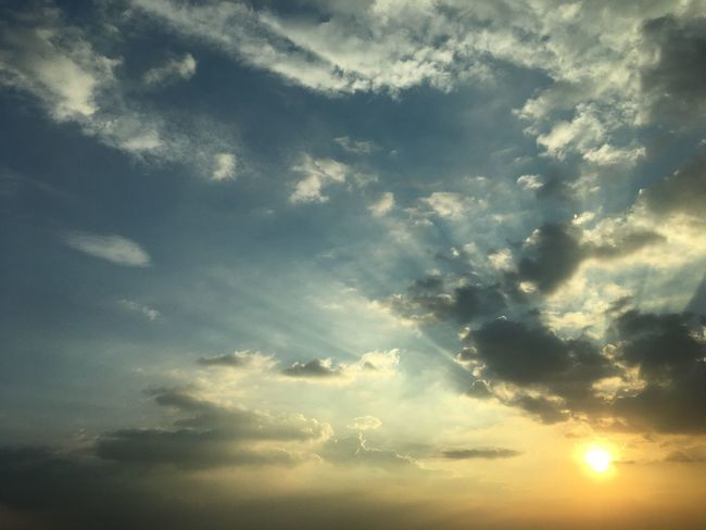 Sunset #sunset #Bangkok #Thailand #EyeEmSelects #Nature  #beautifulnature #cloud #sky #sun Cloud - Sky Sky Beauty In Nature Tranquility Sunset Scenics - Nature Tranquil Scene Sunbeam Day Blue No People Nature Cloudscape