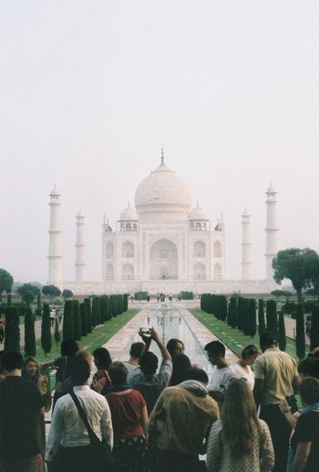 Taj Mahal Large Group Of People Travel Destinations Architecture History Real People Built Structure Dome Tourism Day