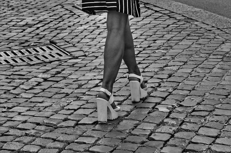 On the streets of Rome, Italy Shoes HighHeels Cobblestone Streetphotography Street Photography Streetphoto_bw Blackandwhite Black And White Black & White Feet Fashion Lifestyles Legs Legs_only