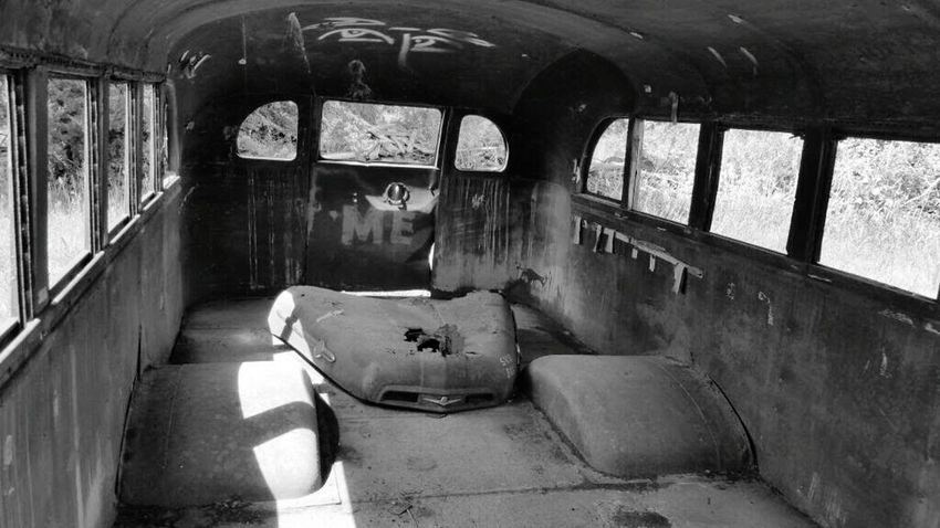 Taking Photos Blackandwhite Black And White Black & White Old Bus Old School Bus Old Abandoned & Derelict Forgotten Left Behind Bus Inside Abandoned Abused