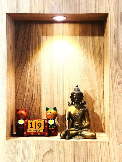 Home decor Gautamabuddha Buddha Art Representation No People Wood - Material Toy Art And Craft Human Representation Creativity Male Likeness Indoors  Wall - Building Feature Decoration Still Life Figurine  Table