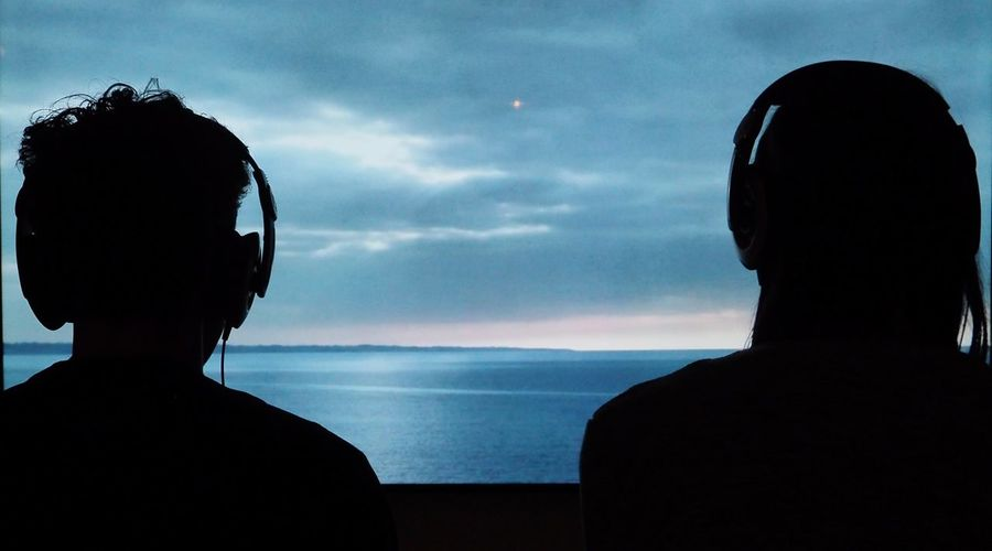 Headphones Music Screen Headshot Rear View Sea Silhouette Sky Two People Watching