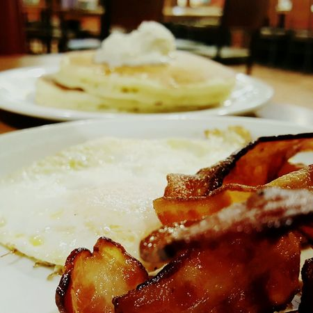 Dennys Diner . It aint the fanciest place around , but 4 bucks gets you all this and you leave with a full tummy. Food And Drink Ready-to-eat Close-up Egg Yolk Diner Food Bacon And Eggs Pancakes! Pancakes Coffee Dennys Diner