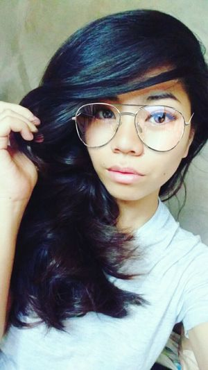 Eyeglasses  Portrait Young Adult Black Hair One Woman Only Only Women People Long Hair Beauty One Person Selfie ♥ Snapshot
