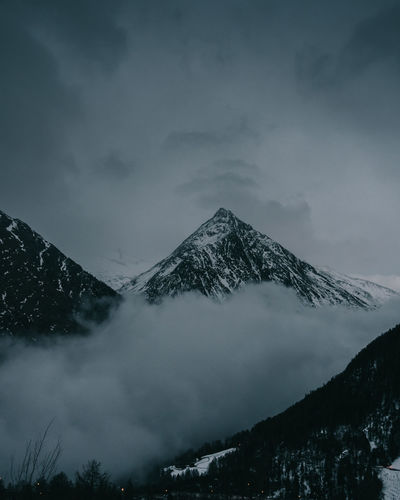 Mountain Winter Cold Temperature Beauty In Nature Sky Scenics - Nature Snow Snowcapped Mountain Cloud - Sky Tranquil Scene Tranquility Nature Mountain Range No People Environment Non-urban Scene Mountain Peak Fog Idyllic