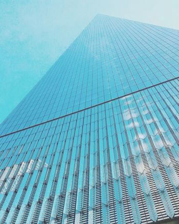Blue Clear Sky Textured  Architecture Pattern Modern No People Sky Built Structure Close-up Low Angle View Outdoors Abstract Futuristic Day NYC Photography Building Exterior Tourism Architecture Mountain Vacations NYC LIFE ♥ NYC Street Photography Oneworldtradecenter City