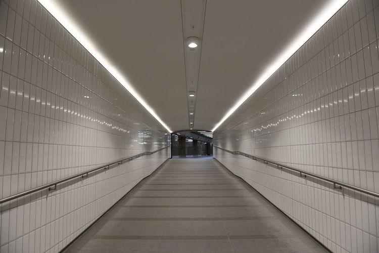 Illuminated subway tunnel