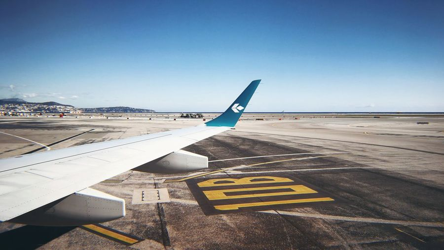 Ready for departure! Air Dolomiti EMBRAER 195 Winglets Airplane Aerospace Industry Airport Airport Runway Air Vehicle Sky