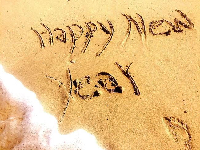 Jumeirah Beach Dubai Imprint New Year Good Wishes Waves EyeEmNewHere Foodsteps See Sand Beach Text Day Outdoors Nature No People EyeEmNewHere EyeEmNewHere