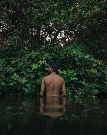 Rear view of shirtless man standing by lake in forest