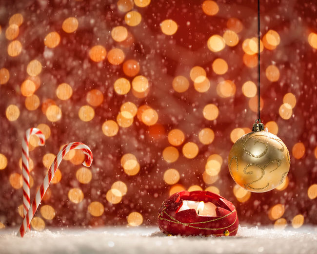 Defocused image of christmas lights