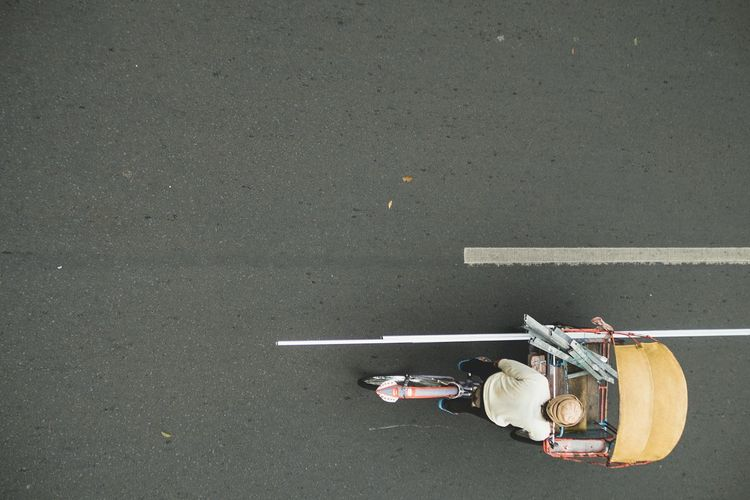 High angle view of motorcycle on street