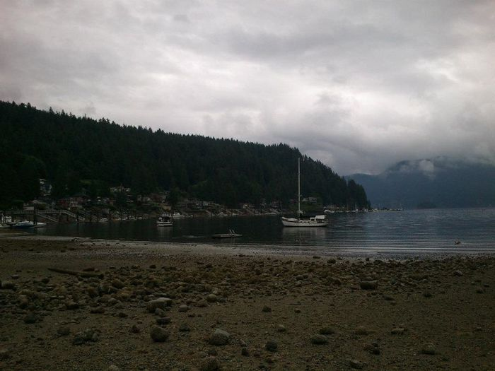 Water Cloud - Sky Nature No People Beach Day Overcast Tranquility Tranquil Scene Outdoors Sailboat Vancouver Deep Cove Vancouver BC Canada