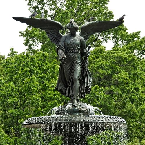 New York City New York Central Park Statue Sculpture Art And Craft Low Angle View Tree No People Day