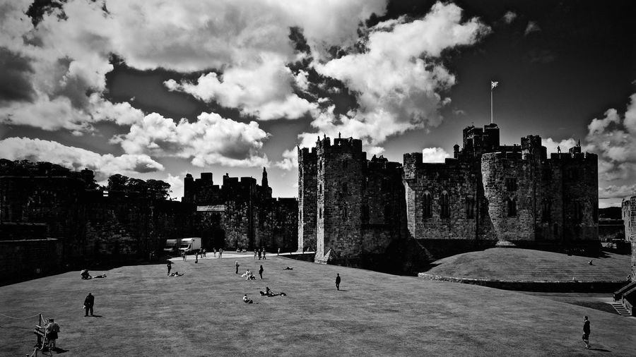 Alnwick Castle Against Sky In Town