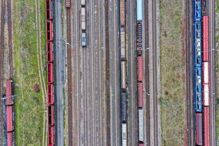 High angle view of train