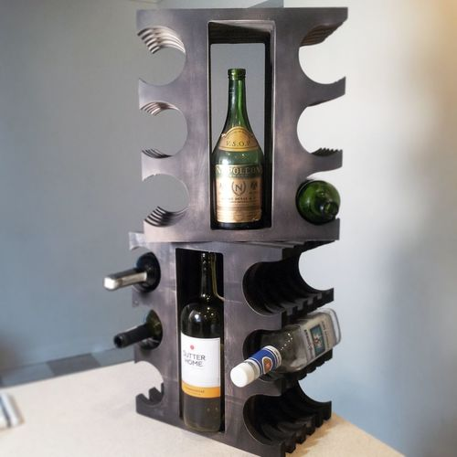 My newest invention, a beverage rack that holds 8 bottles. Industrialdesign Product Design Darrek Columbus, Ohio WineRack Liquor Rack Repurposed Wood