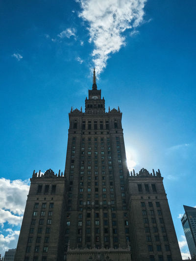 Poland Travel Travel Photography Warsaw Architecture Blue Building Building Exterior Built Structure City Cloud - Sky Day Height Low Angle View Nature No People Office Building Exterior Sky Skyscraper Spire  Sunlight Tall - High Tourism Tower Travel Travel Destinations
