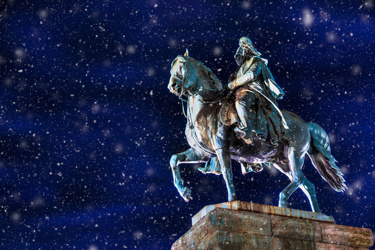 Cologne Force MILITANT Myth Podium Power Rock Winter Century Copper  Emperor Equestrian Germany History Horse Military Monument Night Noble Patina Protected Respected Season  Snow Wilhelm EyeEmNewHere #urbanana: The Urban Playground