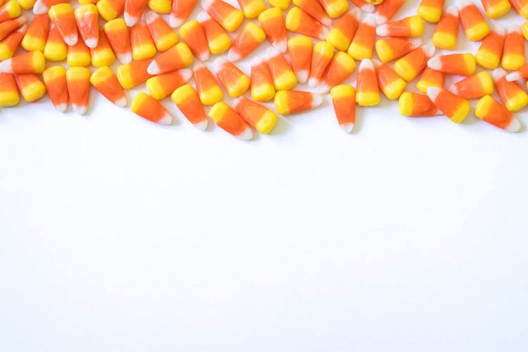 Halloween Border Candy Candy Corn Minimal Minimalism Multi Colored Space For Text White Background