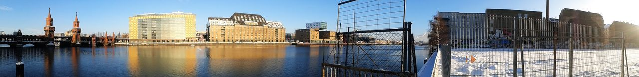 Panoramic View Of Buildings By Oberbaum Bridge On Spree River