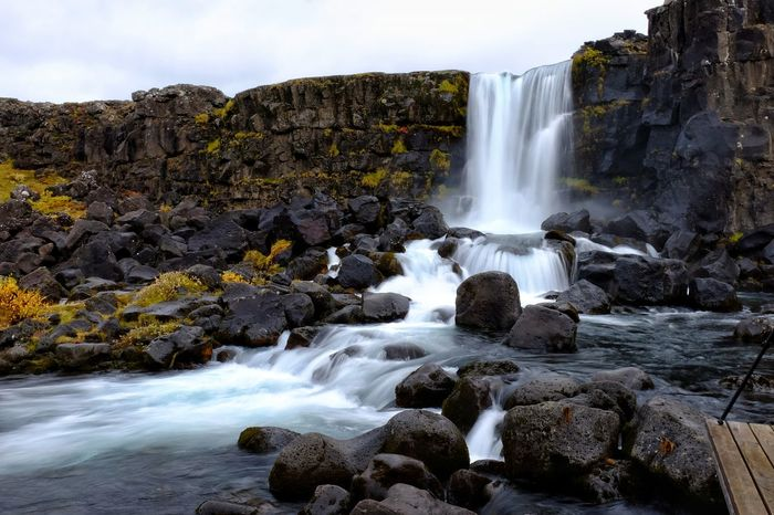 Waterfall þingvellir Long Exposure Motion National Park Rocks Flowing Water Nature Overcast Skies River Oxararfoss Iceland