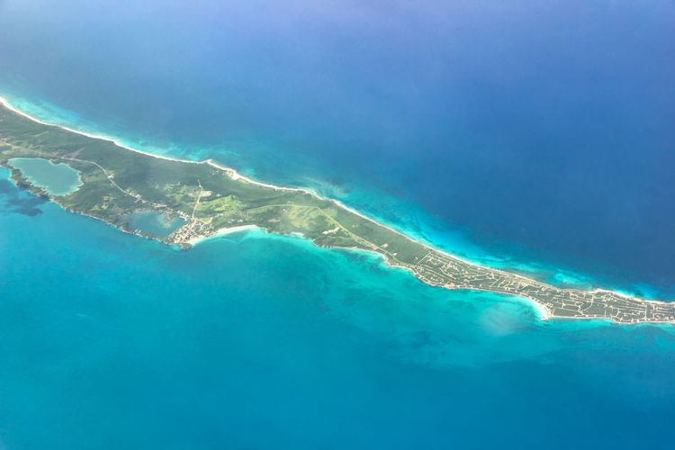 Aerial view of blue water