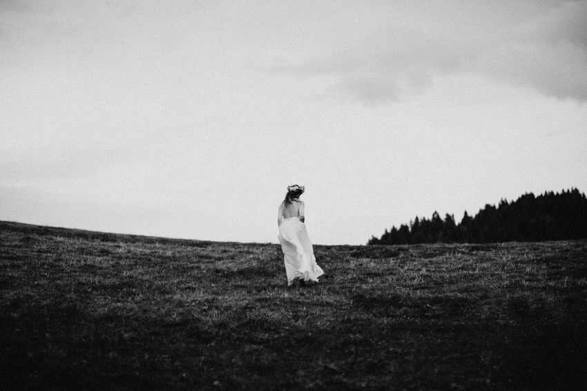 wedding dress Blackandwhite Bride Day Field Grass Landscape Nature One Person Outdoors People Real People Sky Standing Wedding Wedding Dress Women Young Women
