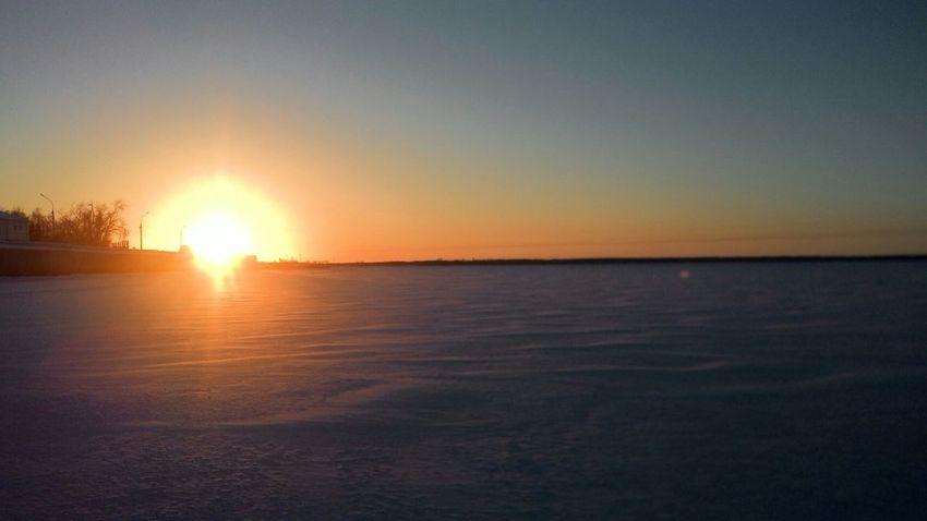 Архангельск Северная Двина зима восход