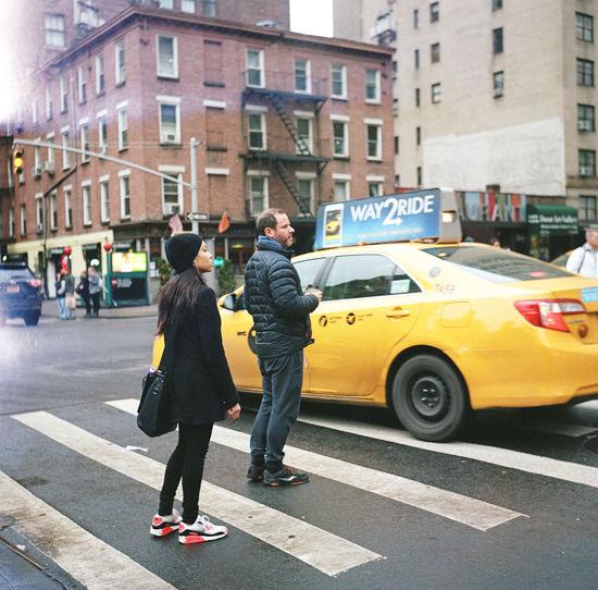 Seventh Avenue, February 2016 Manhattan Chelsea NYC Yellowcab Nyctaxi Streetphoto_color Streetphotography Street Photography Lubitel Lubitel 166+ Medium Format Film Photography Kodak Portra 400 Kodak Portra Kodak Ishootfilm Lightleak Light Leak