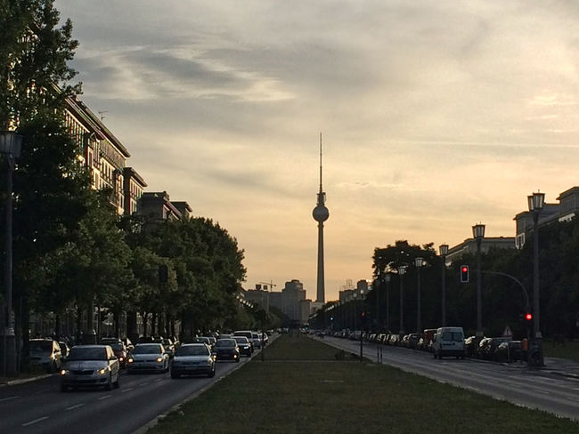 The Frankfurter Allee as showcase of the former GDR/DDR. #Berlin #City #Trafficjam #friedrichshain #sunset #sun #clouds #skylovers #sky #nature #beautifulinnature #naturalbeauty #photography #landscape #traffic Communication Television Tower