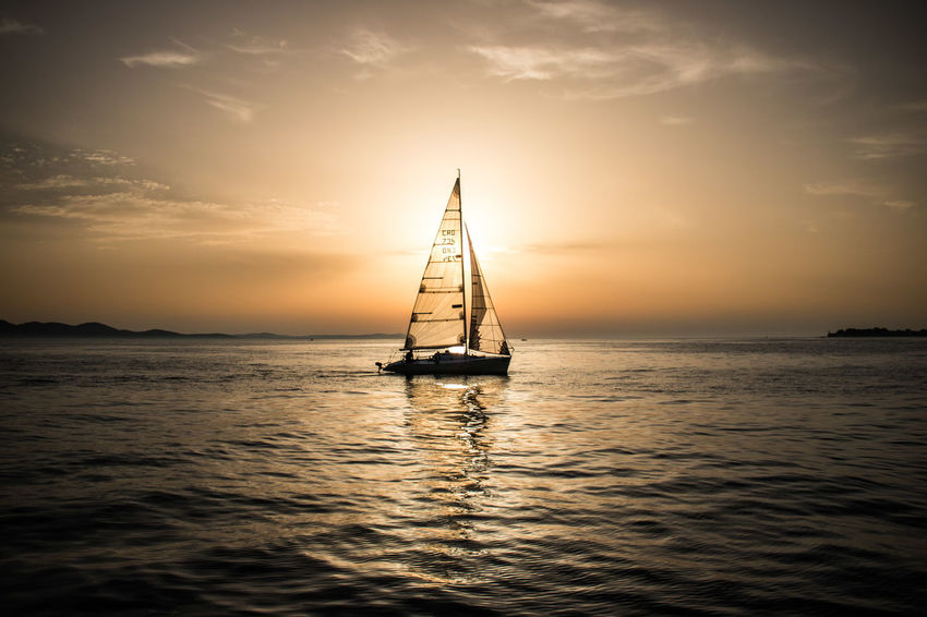 Sunset in Zadar. Sunset Sun Sea Tall Ship Water Nautical Vessel Sailing Ship Sea Sunset Sailing Sailboat Silhouette Shining Calm Atmospheric Mood Moody Sky Seascape