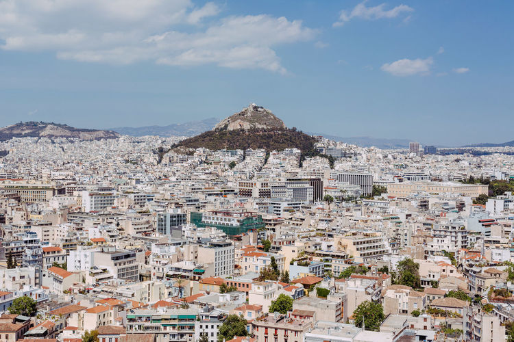 View over Athens from the Akropolis Architecture Athens, Greece Built Structure City City Life Cityscape Mountain Nature Outdoors Sky Town