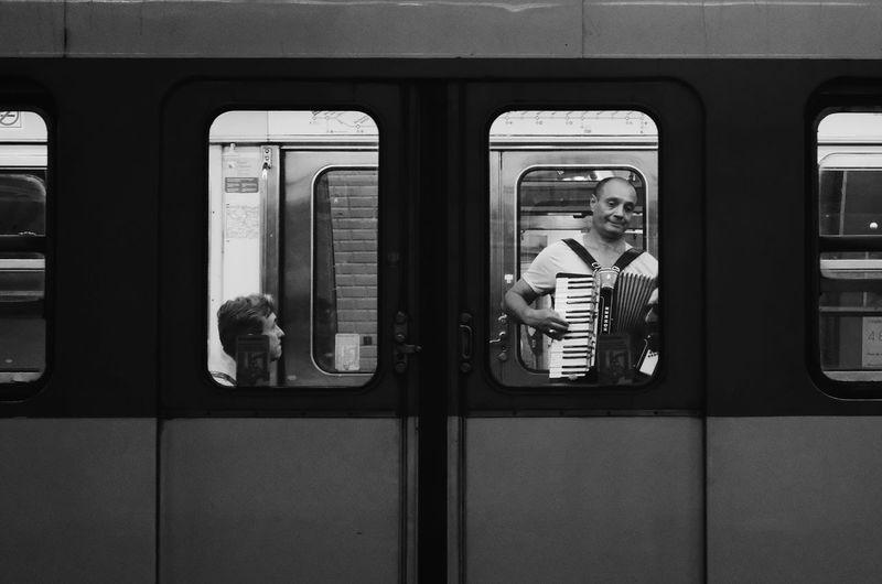 Reflection of train on window