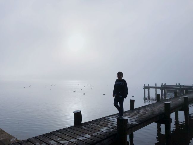 Fog Chiemsee Pier One Person Jetty Lake Full Length Standing Outdoors One Man Only Water Sky Young Adult Nature
