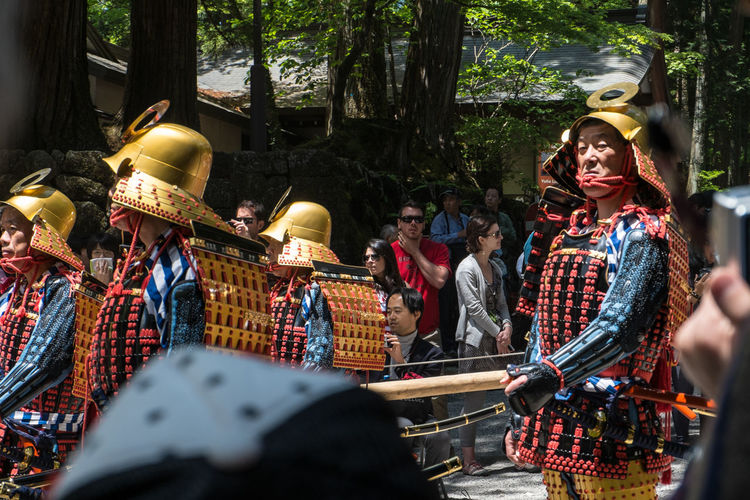 Shunki Reitasai, Toshogu shrine, Nikko. The main event of the festival is a procession reenacting the funeral procession of Tokugawa Ieyasu Culture Japan Nikko Parade Procession Shunki Reitasai Tokugawa Toshogu Shrine Warriors