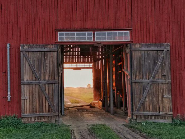 Wooden door of barn