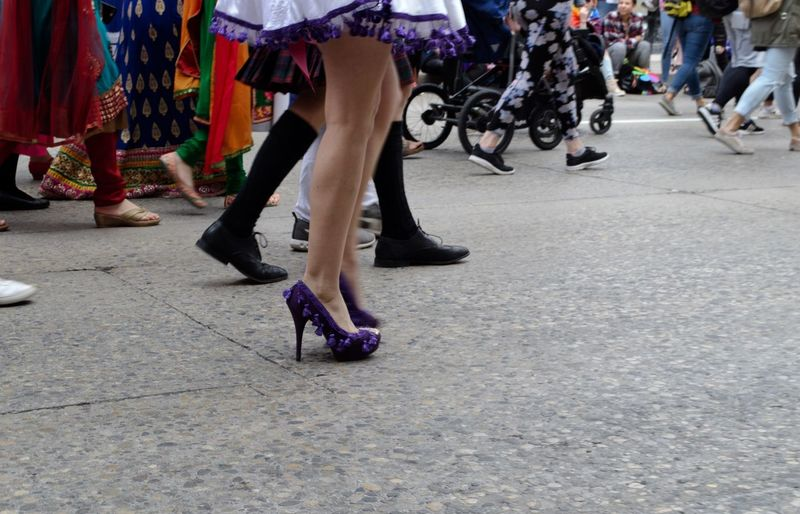 High Heels Sissythatwalk Purple Shoes Pride Parade Pride Gay Pride Lgbtq LGBTQ Rights Drag Low Section Real People Group Of People Women Lifestyles Leisure Activity Crowd Large Group Of People Adult Human Leg City Street Day Performance Men Arts Culture And Entertainment