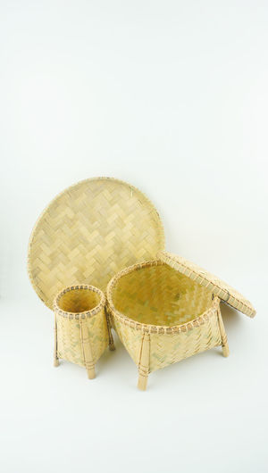 Variety weaving craft basket made of pine on white background. Basketball Close-up Copy Space Creativity Handmade Isolated Made From Pine Multipurpose No People Studio Shot Taking Photos Traditional Weaving Craft White Background
