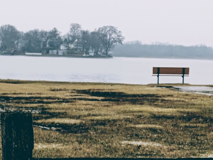 Lake Lake View Calm Water Calm Peaceful Waterfront Water Tree Winter Sky Landscape Grass Foggy Bench Park Bench Empty Lakeside 2018 In One Photograph It's About The Journey