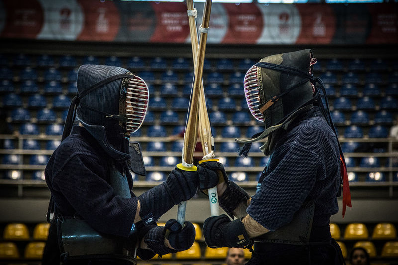 Kendo fighters Champion Fighters Kendo Martial Arts Protection Clothing Shinai Battle Kendo Practice Kendosphotography People Real People Two People Warriors EyeEmNewHere Focus On The Story