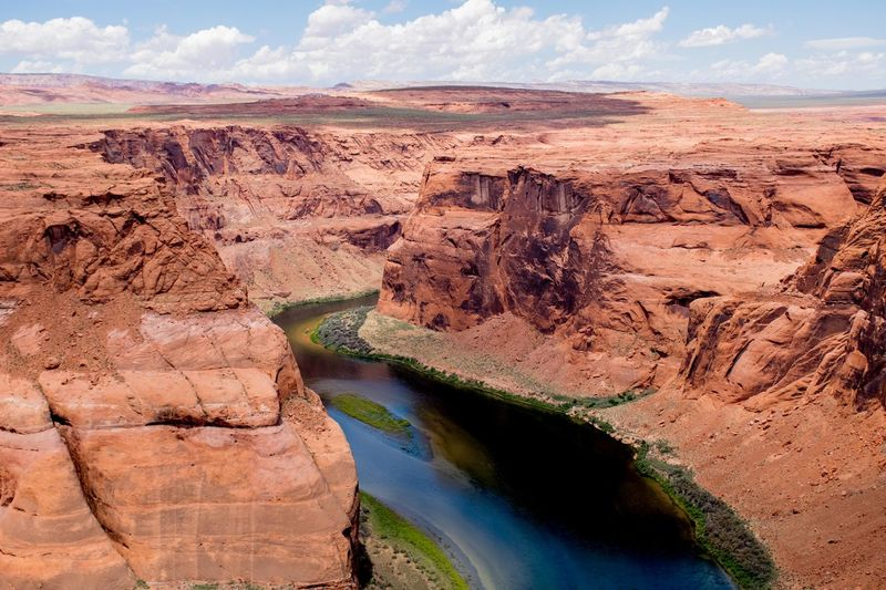 High Angle View Of Colorado River And Rock Formations