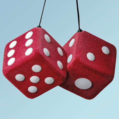 Lucky Fuzzy Red Dice agaist sky color background Fuzzy Gambling Kitsch Luck Oversized Automotive Detail Car Interior Charm Close-up Dice Fuzzy Dice Good Luck Charm No People Pair Red Retro Styled Studio Shot Vehicle Interior